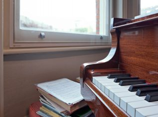 Closeup on piano and WindowSkins