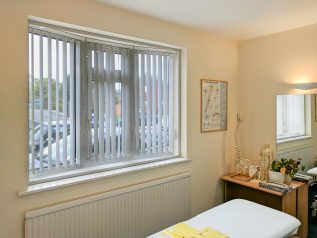 WindowSkins installation at osteopath practice to reduce outside noise