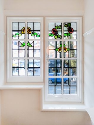 WindowSkins installed to stain glass leaded lights in Muswell Hill