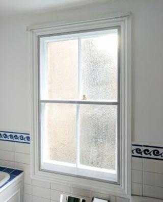 WindowSkin Split-Panel installation in traditional Victorian bathroom