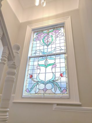 Sash WindowSkin Secondary Glazing installation with leaded lights and stained glass